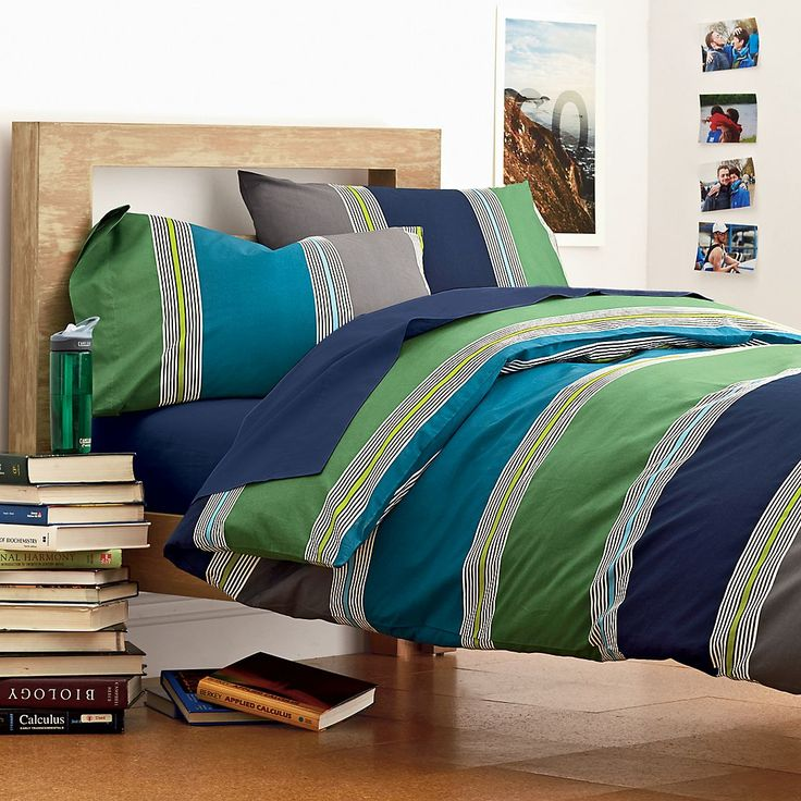 Grey Multi Kellan Stripe Dorm Ready Duvet Cover The