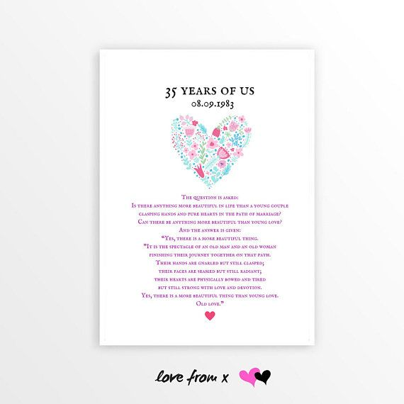 35th Anniversary Heart Print Old Love Poem Wedding Anniversary Poem 35 Years Wedding Annivers Wedding Anniversary Poems Anniversary Poems 35th Anniversary