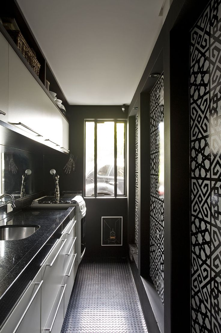 Inspiring New York Studio Apartment Design : Inspiring New York Studio Apartment Design With Modern Black Kitchen Wall And Wooden Kitchen Island Sink Oven Stove Cabinet And Window And Ceramic