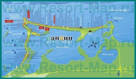 Туристическая карта города Канкун