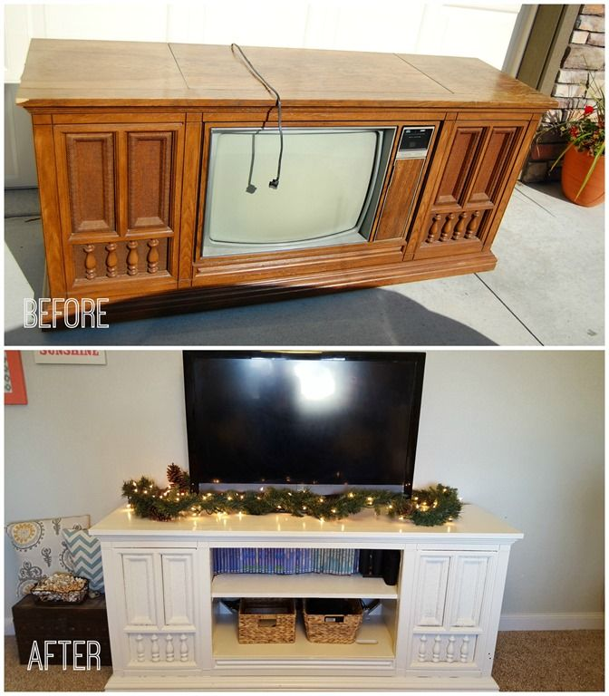 Old Console Tv Makeovers ~ S tv console makeover furniture pinterest tvs