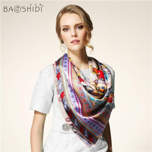 100% Pure Silk Large Square Scarf, BAOSHIDI Luxury Brand original design, multi-option color