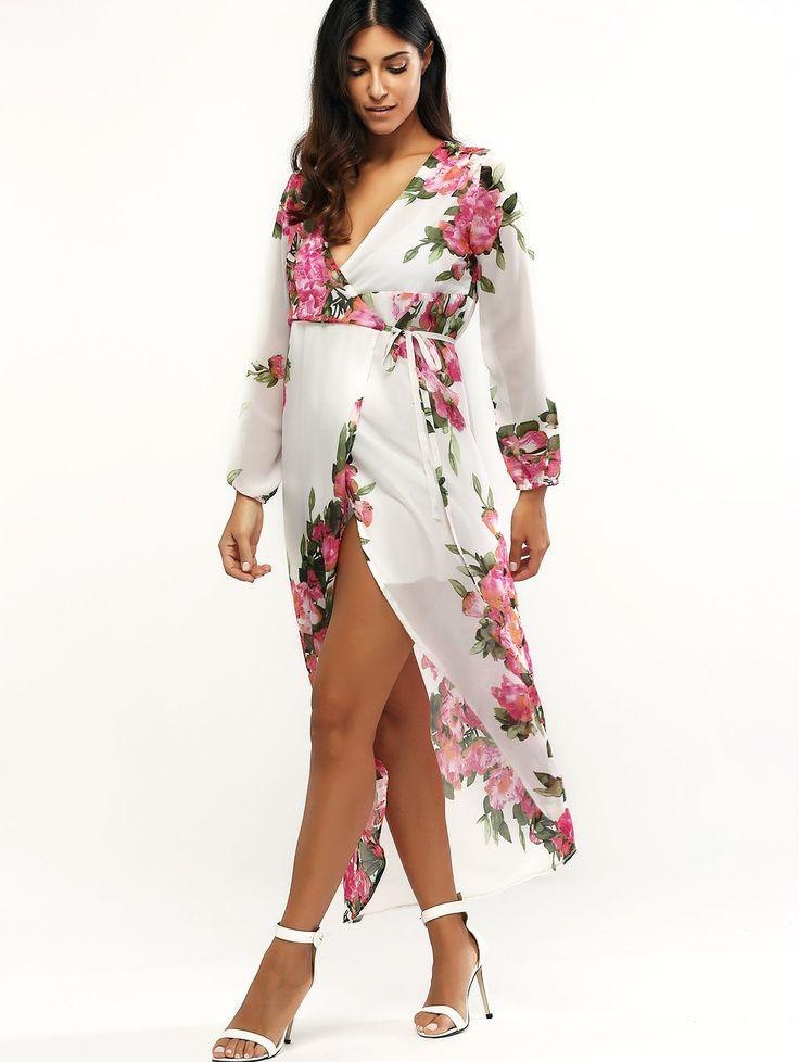 Moda manga comprida Mergulhando Floral Neck impressão envoltório Maxi Dress For Women (Branco,XL) - Digbest Brasil
