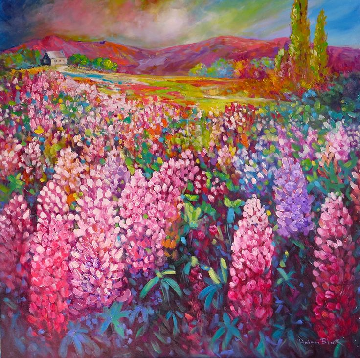 Tekapo Church Lupins, New Zealand, www.helenblairsart.co.nz