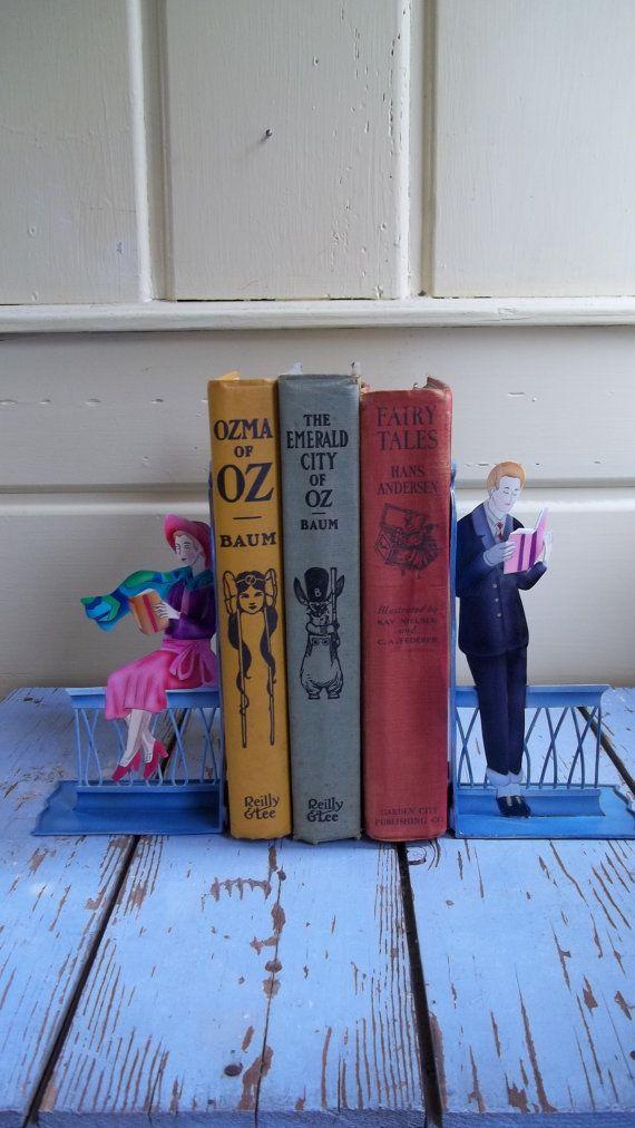 Vintage Bookends Handpainted Metal Art Deco Design by VillageFair, $38.00