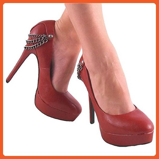 Fantasy by Speed Limit 98 New Red Platform High Heel Pump w/ Chain Trim Size
