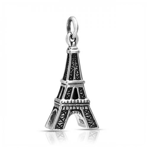 Bling Jewelry Antiqued 925 Sterling Silver Paris Travel Eiffel Tower Pendant