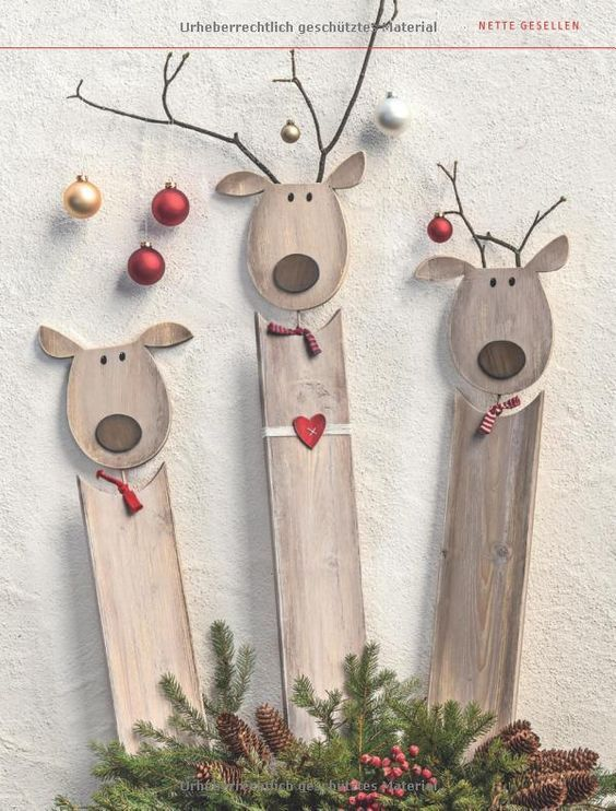 Wood Rudolph Reindeer Christmas decorations :D – #Christmas #decorations #reinde…