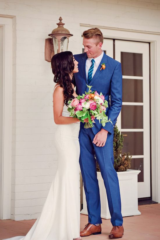 Royal blue groom suit @weddingchicks