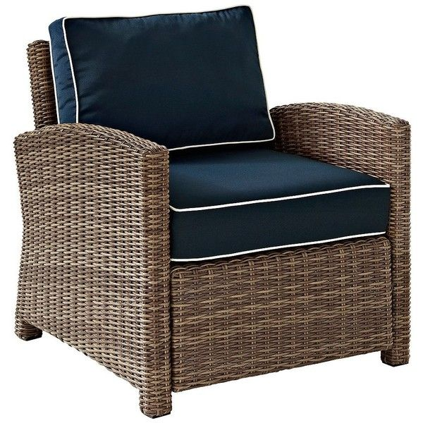 Universal Lighting and Decor Biltmore Rattan Wicker Navy Cushion... (€425) ❤ liked on Polyvore featuring home, outdoors, patio furniture, beige, outdoor seating, outdoor rattan patio furniture, outdoor furniture, rattan outdoor furniture, all weather outdoor furniture and all weather wicker patio furniture
