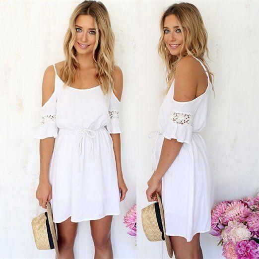 Minetom Fashion Damen Sommerkleid kurz sexy Schulter Kleid Rock Partykleid Cocktaikleid StrandKleid Weiß: Amazon.de: Bekleidung