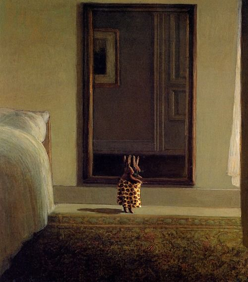 Rabbit in front of a mirror - Michael Sowa