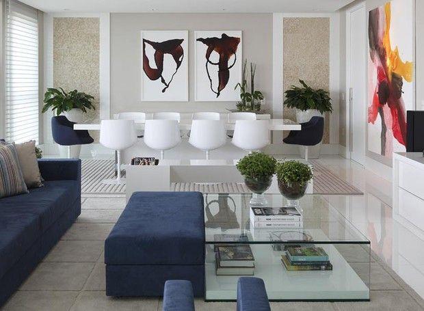 salas-azul-branco-moveis-sofa-mesa-de-jantar (Foto: Felipe Araújo)