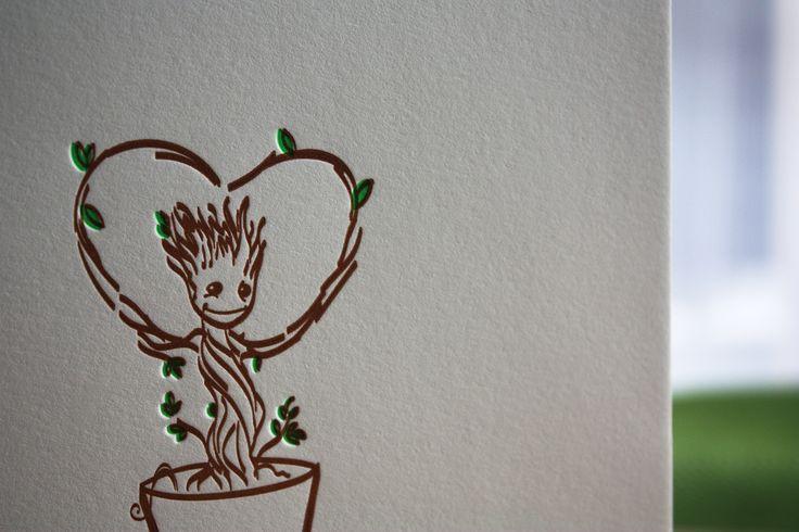 I am Groot! ❤  #valentinecards #letterpress #iamgroot #slowprint