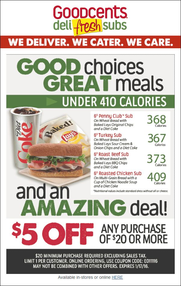 Pinned January 12th: $5 off $20 at Goodcents #Deli Fresh Subs #coupon via The #Coupons App