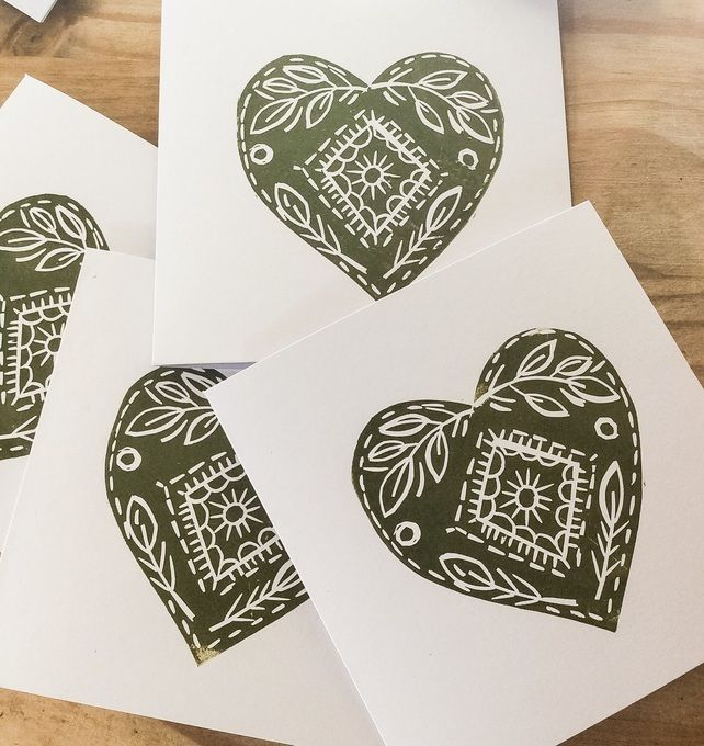 Hand printed Lino Print Christmas Cards. Green hearts. Pack of Four  £5.00