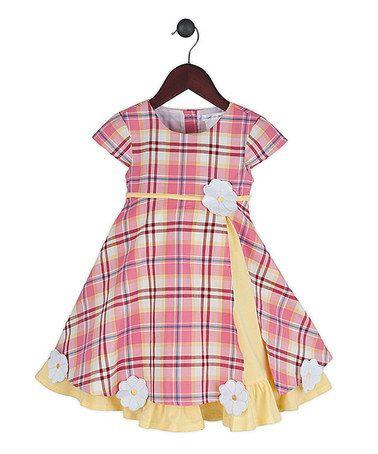 Loving this Pink Plaid & Yellow Sugarplum Dress - Infant, Toddler & Girls on #zulily! #zulilyfinds