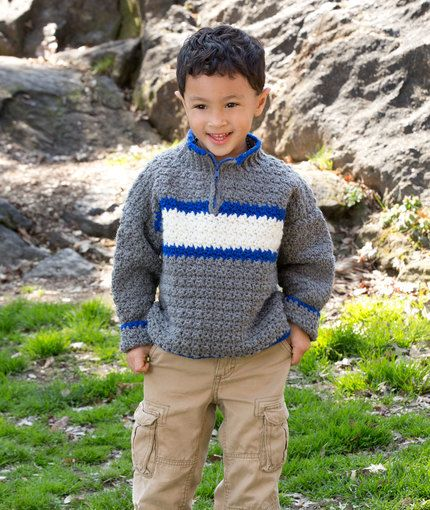 Rugby Pullover Free Crochet Pattern from Red Heart Yarns