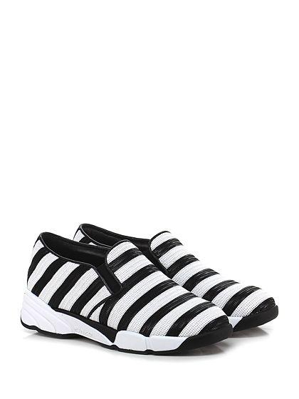 Pinko - Sneakers - Donna - Sneaker in paillettes con suola in gomma, tacco 45, platform 25 con battuta con battuta 15. - BIANCO\NERO - € 265.00