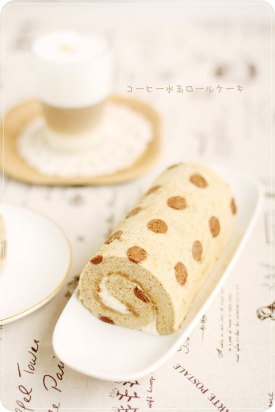 Coffee Polka Dotted Roll Cake コーヒー水玉ロールケーキ