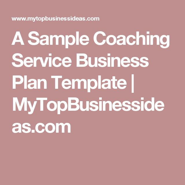 A Sample Coaching Service Business Plan Template