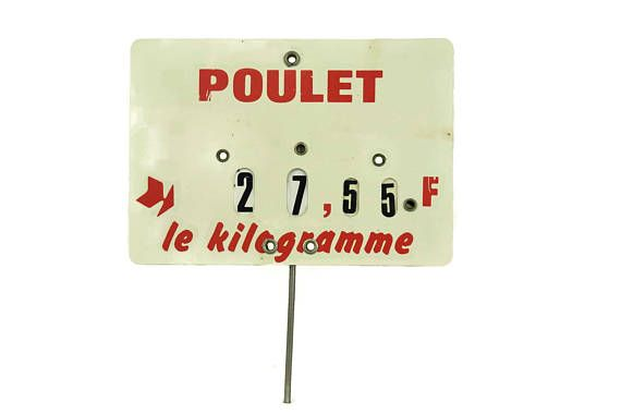 French Butchers Price Ticket Label. Vintage Store Display