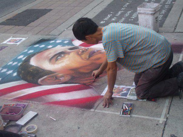 Beautiful sidewalk art outside the Eaton's Center!