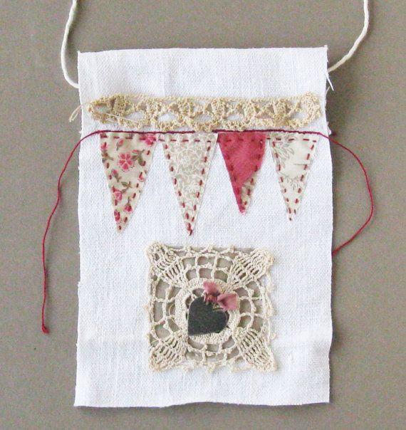 Small+art+quilt+Prayer+flag+metal+heart+hand+by+ColetteCopeland
