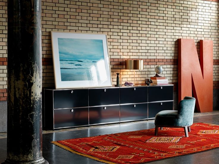 Iconic sideboard in graphite black for the living room and dining room.