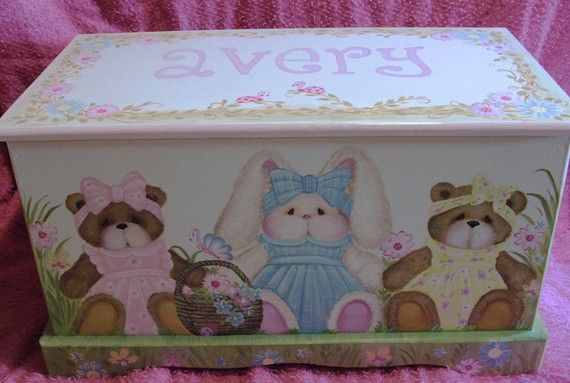 Personalized Toy Box with Bunny and Teddy  Bears Custom
