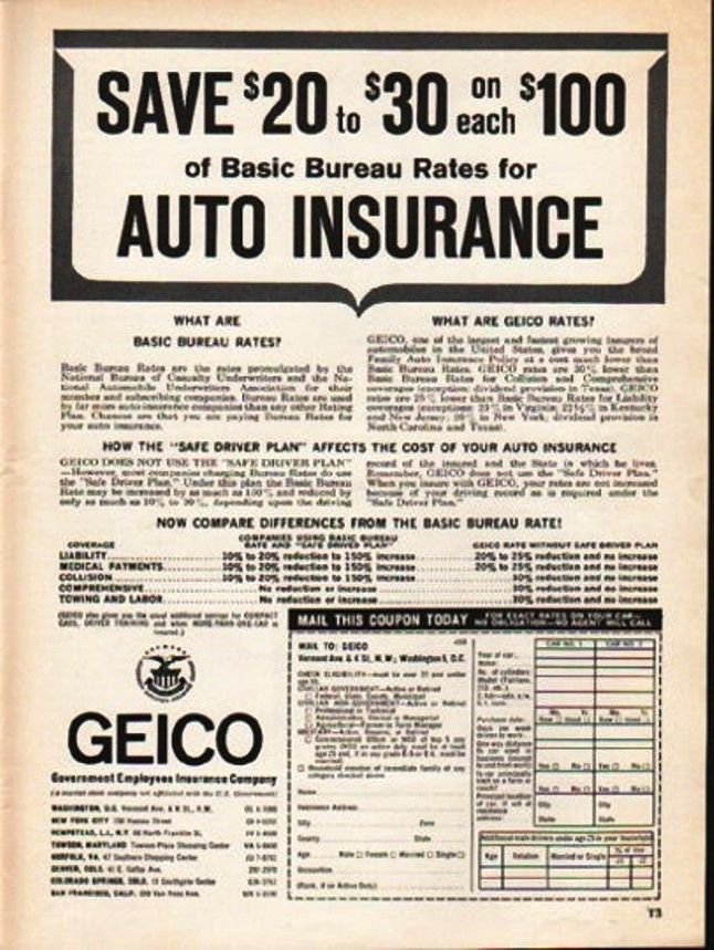 Vintage Magazine Ad For Geico Insurance Ca 1950s With Images