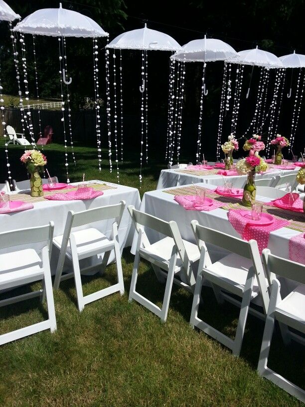 Umbrella time. Pink and green bridal shower