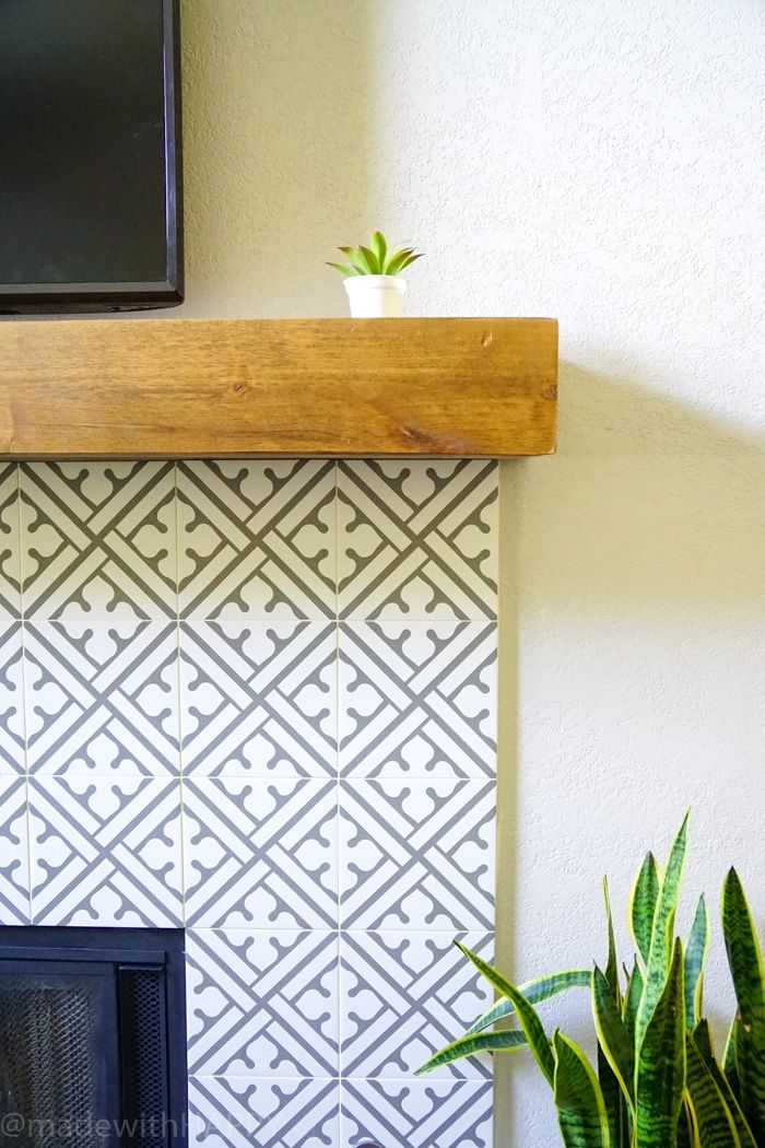 Modern Fireplace Makeover Just Like Cement Tile Fireplace But Portuguese Ceramic Tile Fireplace Modern Fireplace Fireplace Makeover Modern Fireplace Mantels