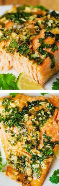 Cilantro-Lime Honey Garlic Salmon baked in foil – easy, healthy recipe that takes 30 minutes from start to finish!