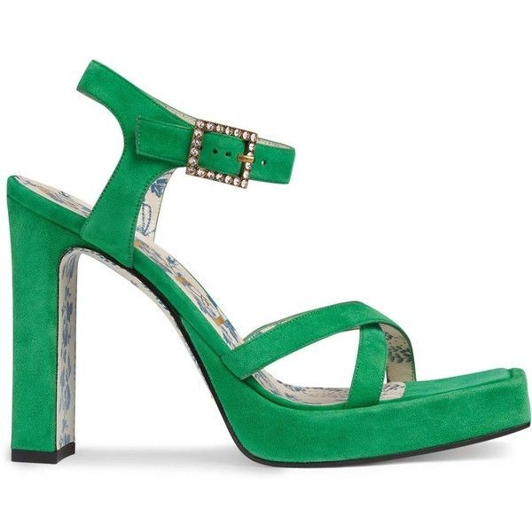 Gucci Women's Costanze Suede Platform Sandals (€795) ❤ liked on Polyvore featuring shoes, sandals, green, platform sandals, block heel sandals, green high heel sandals, strappy sandals and strappy high heel sandals