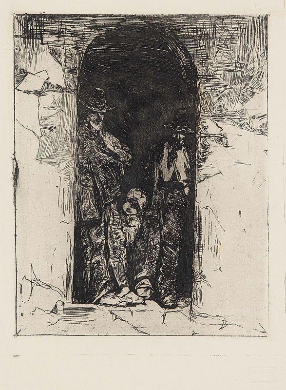 Giovanni Fattori - I carbonai - Acquaforte su zinco - cm. 25,2x20 (lastra). cm. 51,3x38,2 (carta)
