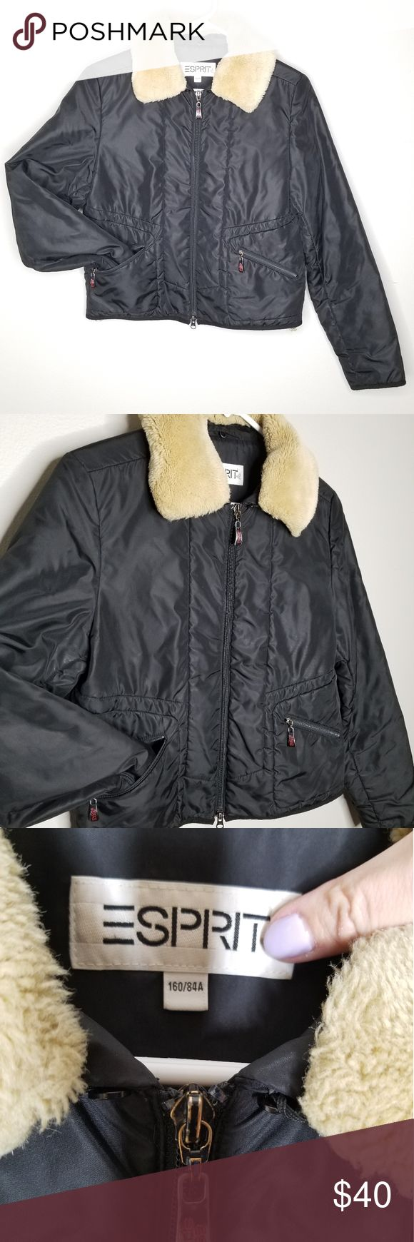 Vintage ESPRIT moto jacket w sherpa collar (With images