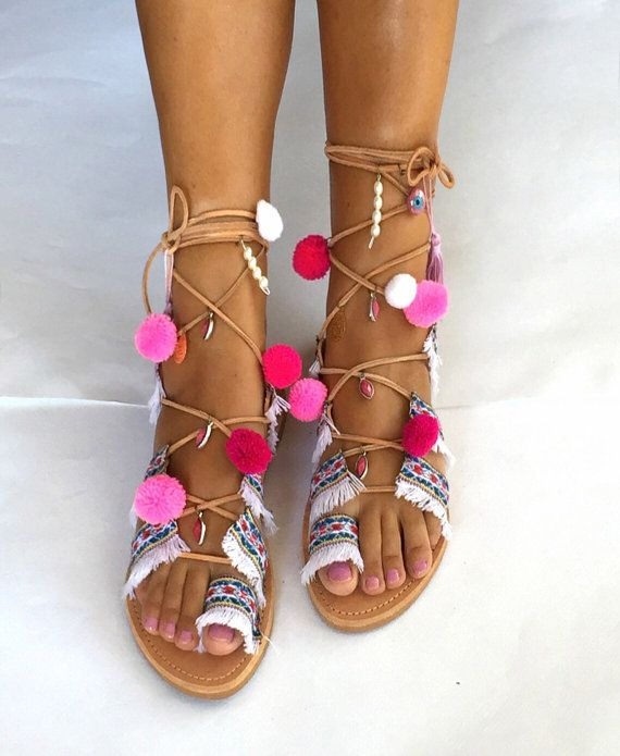 FREE SHIPPING Tie Up Gladiator Sandals by BohemianFootprints