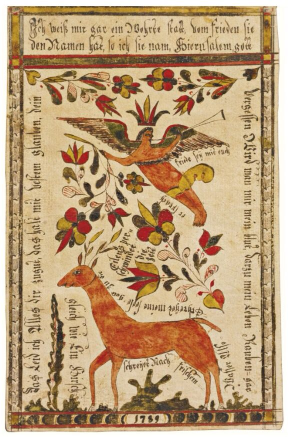 Rare watercolor presentation Fraktur with Angel and Doe, Johann Adam Eyer (1755-1837) - Probably Beminster Township, Bucks County, Pennsylvania, dated 1789, 7 1/2 by 4 3/4 in.