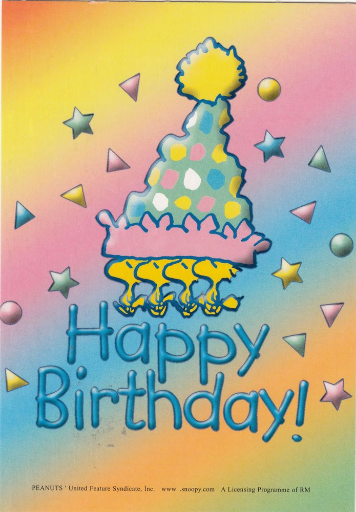 Peanutsu0027 Comic Cartoon Snoopy Dog Happy Birthday Greeting Postcard
