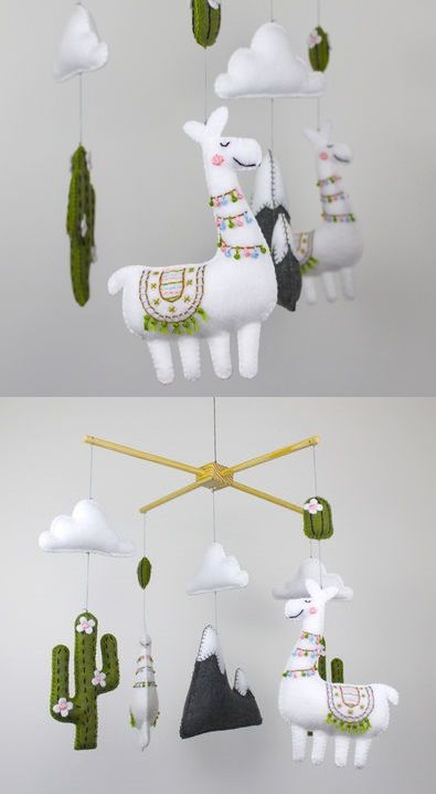 Nursery Mobile with Cactus and Laama - Sewing Pattern via Makerist.com #sewingwithmakerist #sew #sewing #sewkindofwonderful #sewingpattern #sewinginspiration #diy #handmade #homemade #sewingprojects #sewingtutorial #nursery #baby #mobile #toy #lama #cactus #mountain