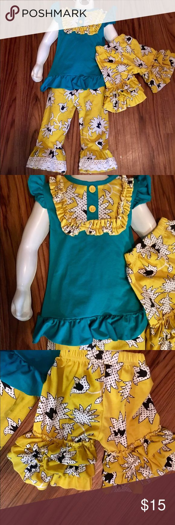 3pc ruffled boutique outfit EUC 3 of teal and yellow ruffled boutique outfit  shirt pants and shorts EUC NO stains rips tears or wear Spilled Rainbow Glitter Boutique Matching Sets