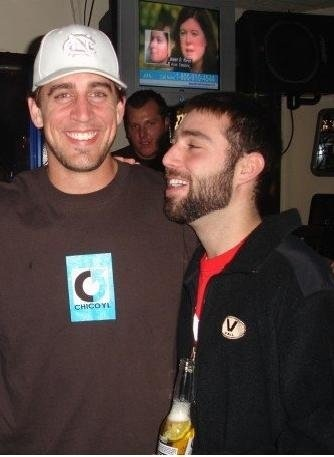 my buddy jason and Aaron Rodgers in college