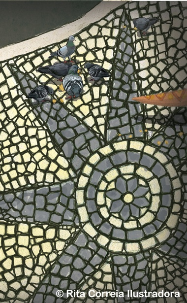 Detail of the first page. Portuguese pavement with pigeons... and dinossaur tail ;)