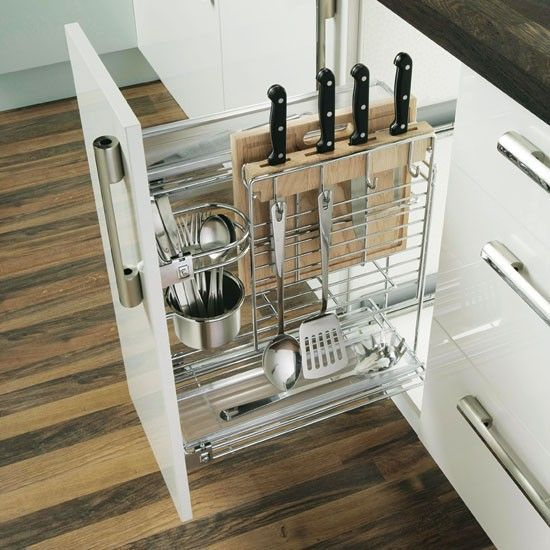 Drawers are one of the most common storage solution for the kitchen. And although horizontal ones are the most common choice, you should not forget about vertical drawers, because they can help you get the