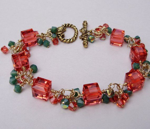 6e451944c8872 One Of A Kind Wired Wrapped 24K Gold SWAROVSKI - Red - Green - Cube ...