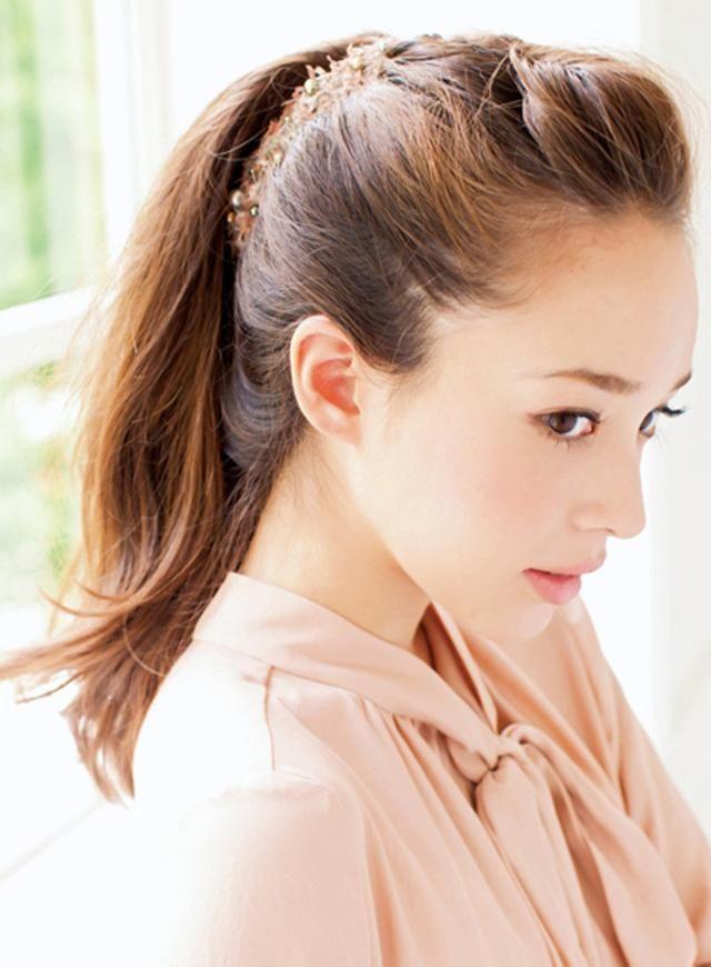 前髪ねじりポンパで縦にボリュームを出して♡ 美人ポニーテールの参照用一覧。