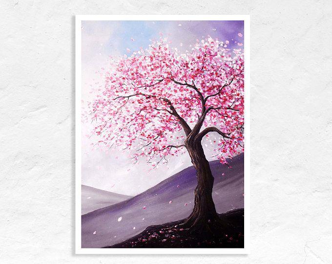 Purple Tree Oil Painting Purple Blossom Impressionist Art Etsy Abstract Flower Painting Acrylic Sakura Painting Cherry Blossom Painting