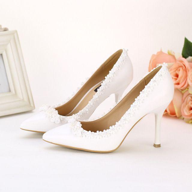 Sandales de mariée talon haute,chaussures de mariée en satin orné des perles-emilie vogue