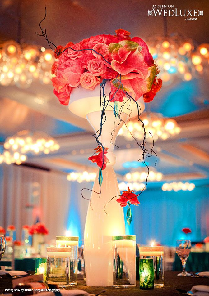 coral teal wedding at the downtown hyatt in rochester ny dramatic centerpieces in all coral with teal accents clear mundhap by stacy k floral